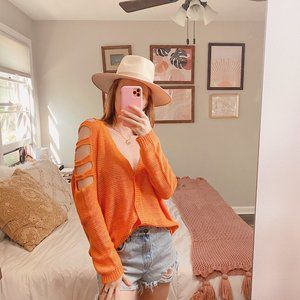 Love By Design Orange Cold Shoulder Cardigan